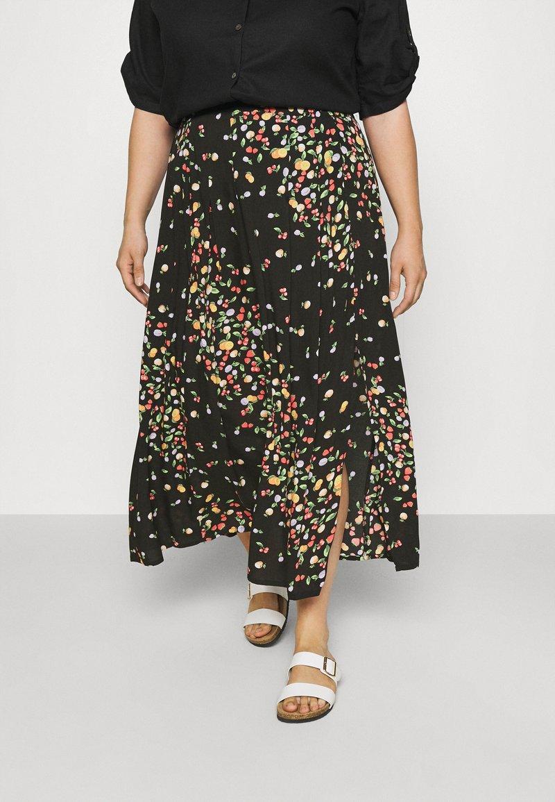 Simply Be - SKIRT WITH SIDE SPLIT - A-line skirt - black fruit print