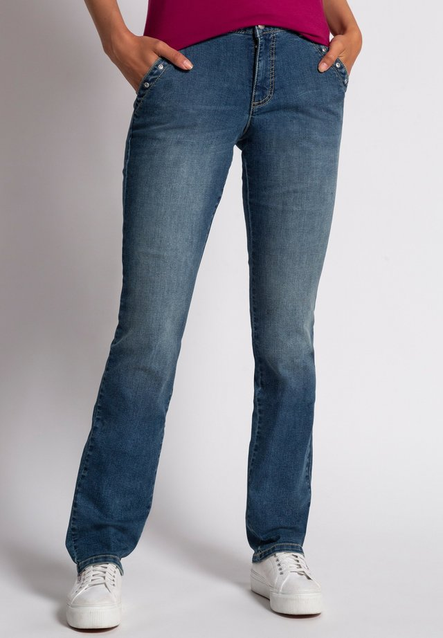 TARA, QUERNAHT, ZIERNIETEN, WEITE, GERADE - Straight leg jeans - blue denim