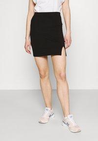 Even&Odd - 2er PACK - Mini skirts basic with slits - Pencil skirt - black/light blue - 3