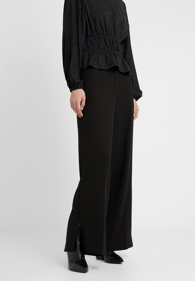 SIDE SLIT PANT - Tygbyxor - black