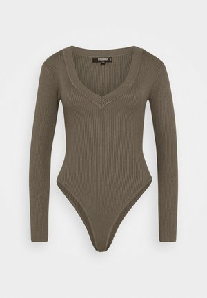 SKINNY V NECK - Maglione - khaki