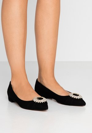 JEWELED STRAP HARLECH FLAT - Baleriny - black