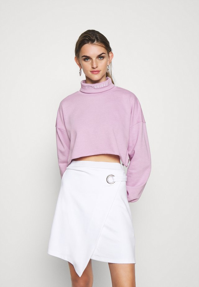 MISSGUIDED EMBROIDERED NECK - Mikina - lilac