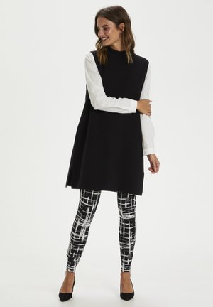 KAPAPPI  - Leggings - Trousers - black/white stroke check