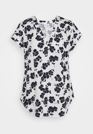 Print T-shirt - navy white floral