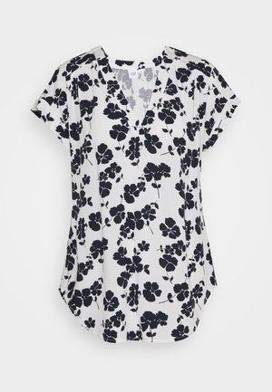 T-shirt print - navy white floral