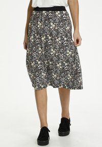 Kaffe - A-line skirt - black w.daisy flowers - 0