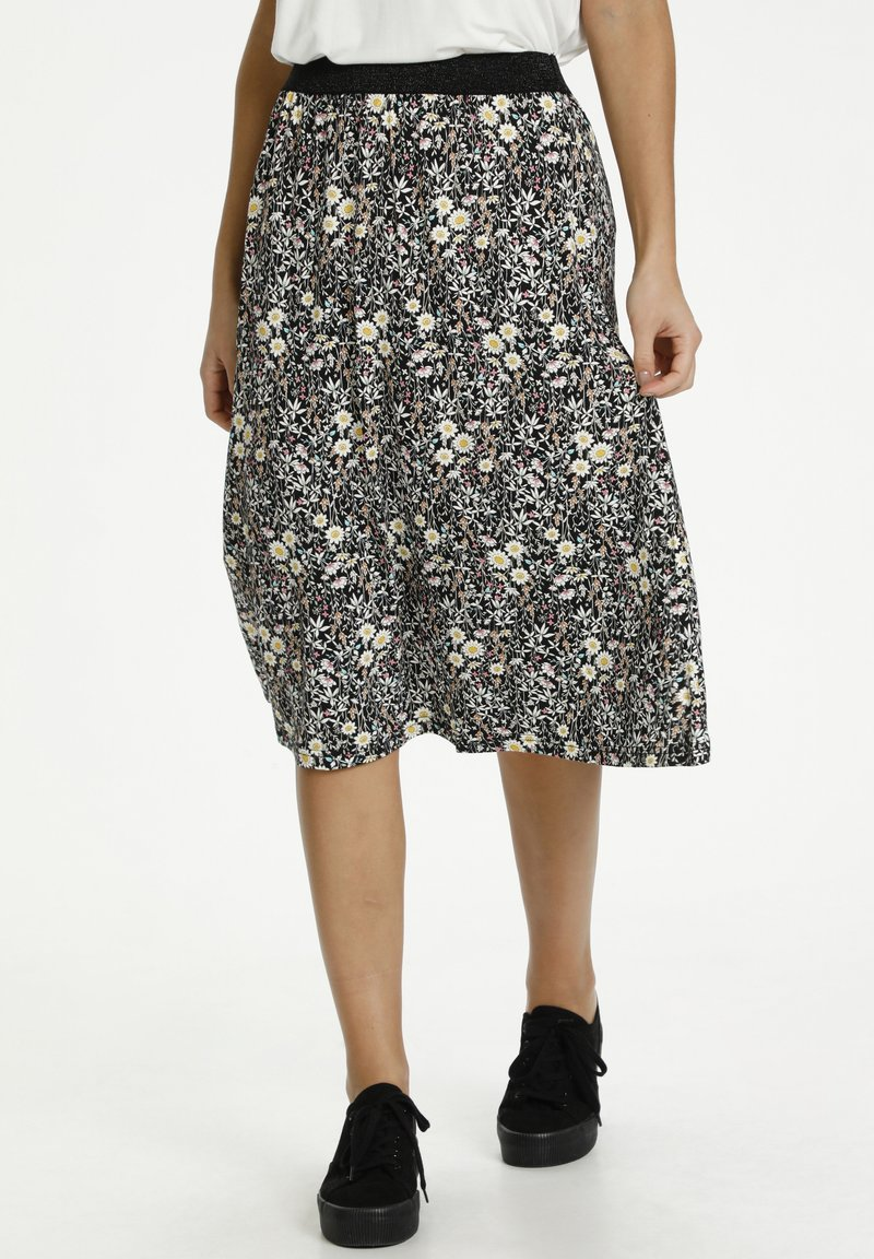 Kaffe - A-line skirt - black w.daisy flowers