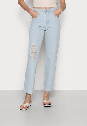 GENES BLUE RIPPED DAD - Straight leg jeans - denim