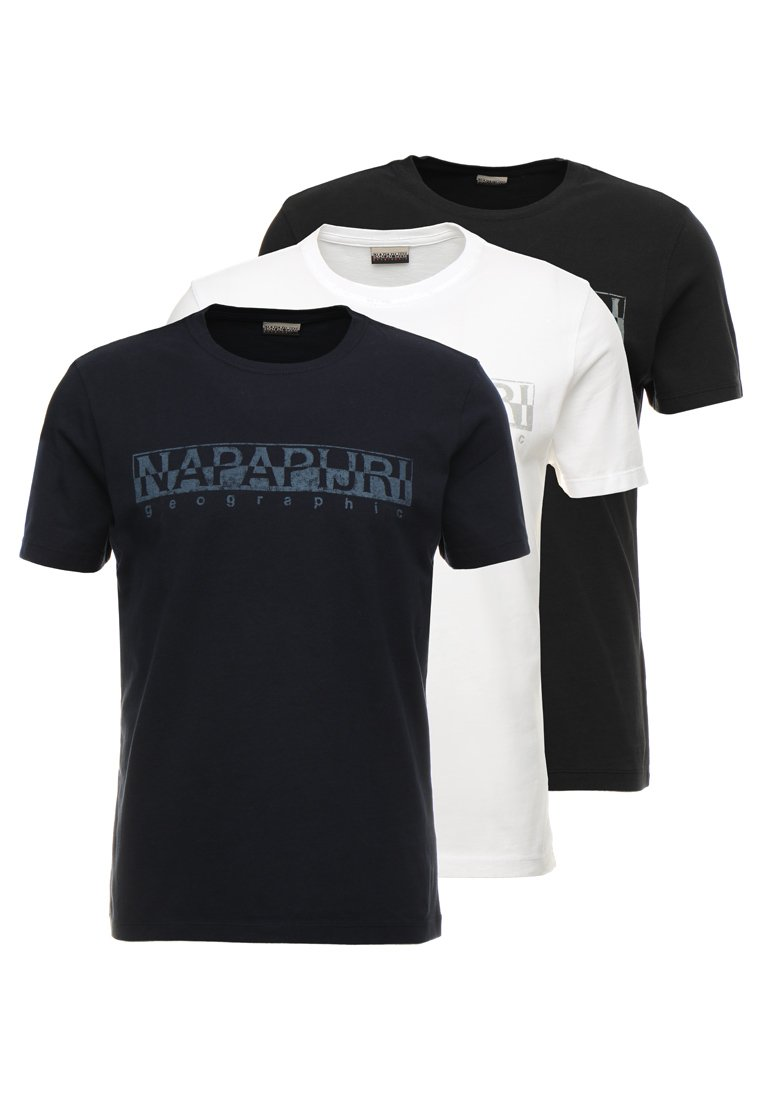 Napapijri - 3 PACK - Print T-shirt - black/white/navy