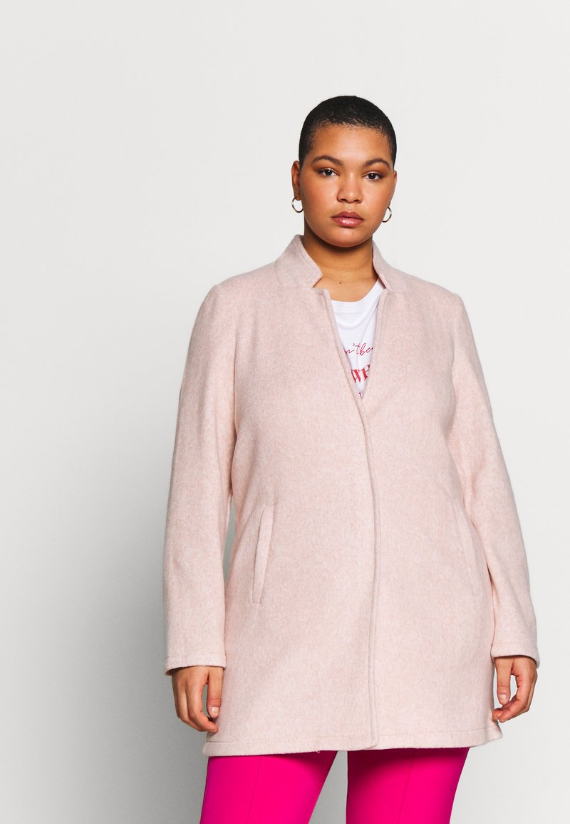 Vero Moda Curve - VMBRUSHED KATRINE  - Krátký kabát - nude