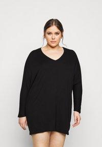 New Look Curves - BATWING MINI - Shift dress - black - 0