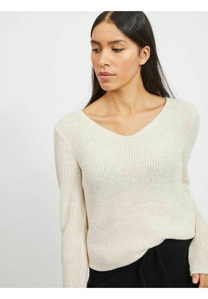 VIOKTAVI V-NECK - Strikpullover /Striktrøjer - super light natural melange