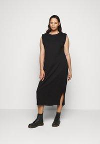 Vero Moda Curve - VMEDEN CALF DRESS CURVE - Jersey dress - black - 1
