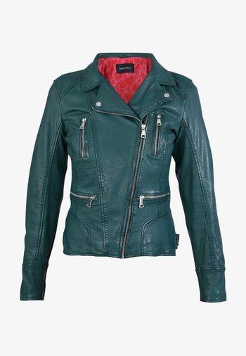 CAMERA - Leather jacket - dark green