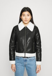 Who What Wear - ZIP FRONT JACKET - Faux leather jacket - black/cream - 0