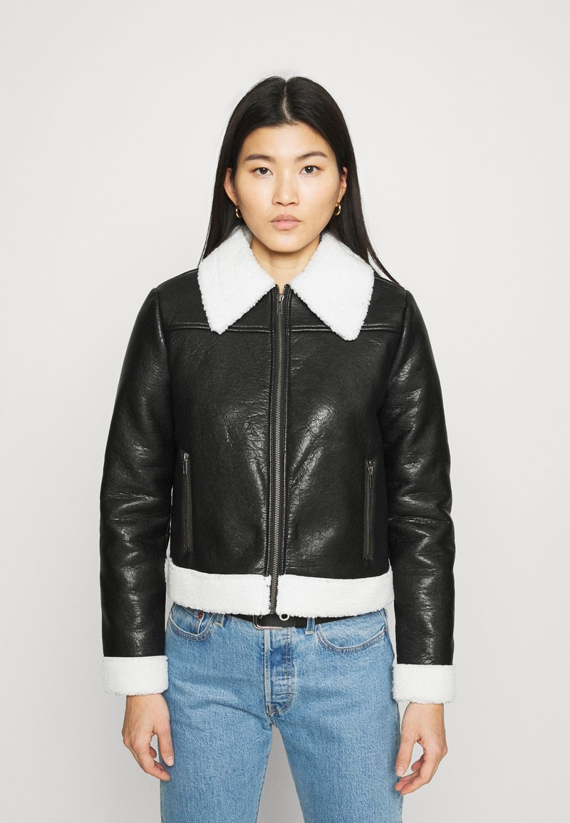 Who What Wear - ZIP FRONT JACKET - Faux leather jacket - black/cream