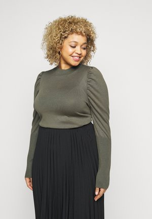 CROPPED JUMPER WITH RIBBED HEMS PUFF LONG SLEEVES - Svetr - forest