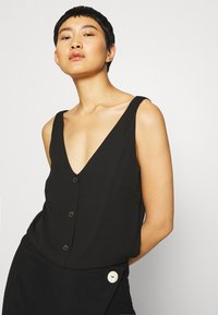 Wallis - V NECK BUTTON CAMI - Bluzka - black - 3