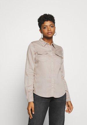 VIBISTA DENIM SHIRT - Button-down blouse - simply taupe