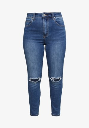 HIGH RISE CROPPED - Skinny-Farkut - mid blue