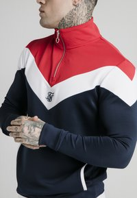 SIKSILK - RETRO QUARTER ZIP OVERHEAD TRACK  - Sweatshirt - navy/red/white - 4