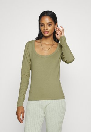 EVERYDAY SCOOPED NECK LONG SLEEVE - Long sleeved top - soft moss