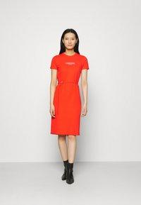 Calvin Klein - LOGO DRESS - Jersey dress - fiesta - 0