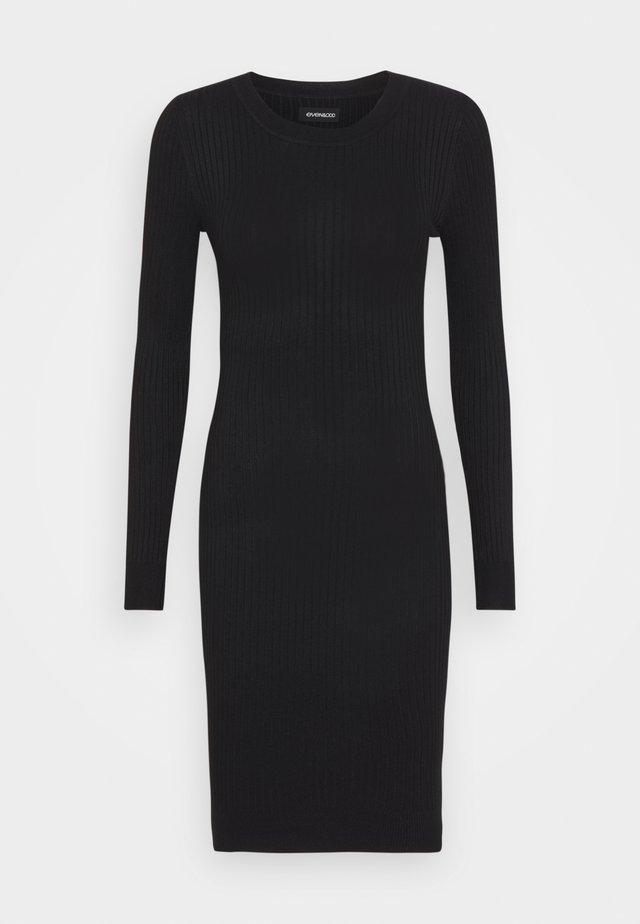 Knitted jumper mini high neck dress - Etuikleid - black