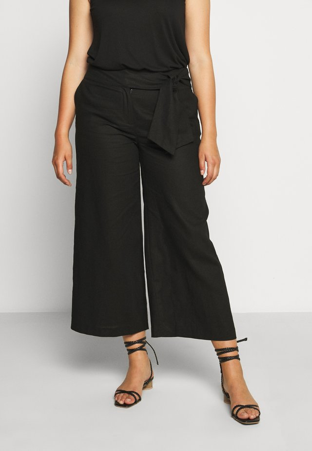 TIE WAIST WIDE LEG TROUSER - Broek - black