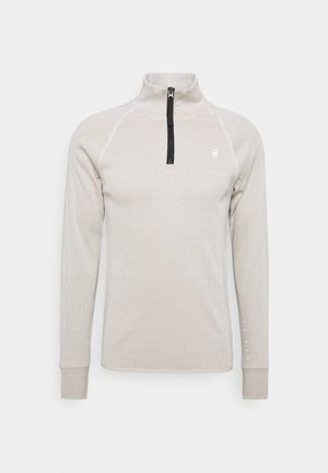 PLATED RIB HALF ZIP JIRGI R T L\S - Pullover - milk/light rock