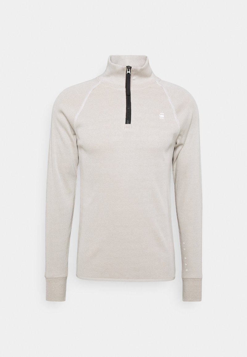 G-Star - PLATED RIB HALF ZIP JIRGI R T L\S - Jumper - milk/light rock