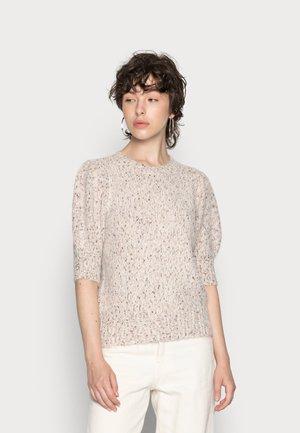 VMDINA O NECK BLOUSE - Print T-shirt - birch/tan emparador melange