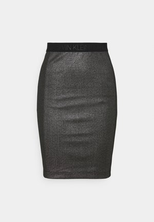 COATED MILANO SKIRT - Jupe crayon - black