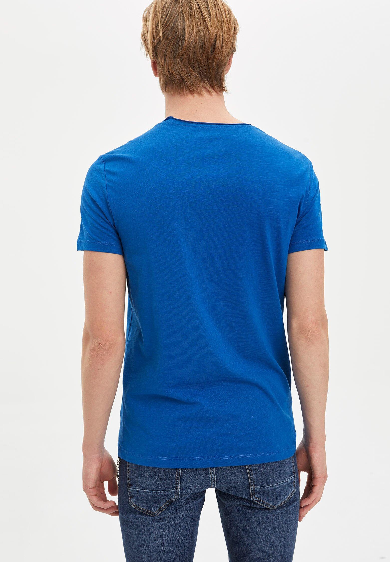 DeFacto Basic T-shirt - blue jXBBp