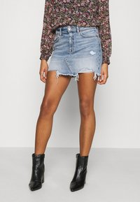 American Eagle - HI RISE MINI SKIRT - Jeansnederdel/ cowboy nederdele - medium destroy - 0