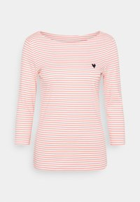 STRIPE BOAT NECK - Long sleeved top - white peach