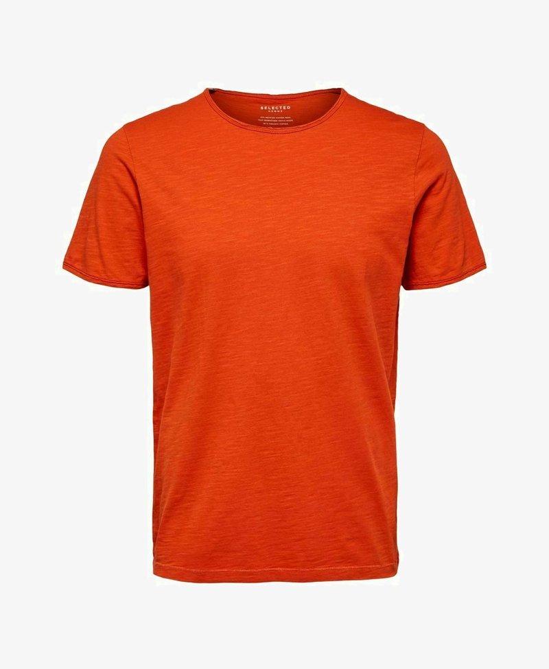 Selected Homme - SLHMORGAN O-NECK TEE - T-shirt - bas - burnt ochre