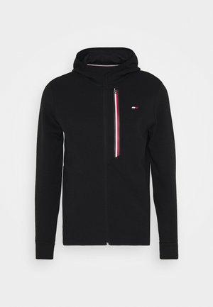 STRIPE DOUBLEKNIT HOODY - Zip-up hoodie - black