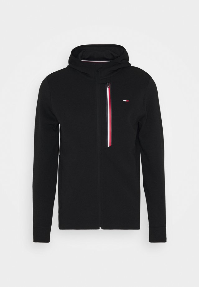 STRIPE DOUBLEKNIT HOODY - veste en sweat zippée - black