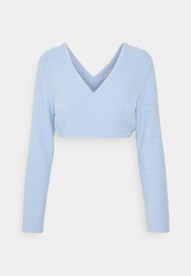 FUZZY LONG SLEEVE CROP - Haut de pyjama - blue