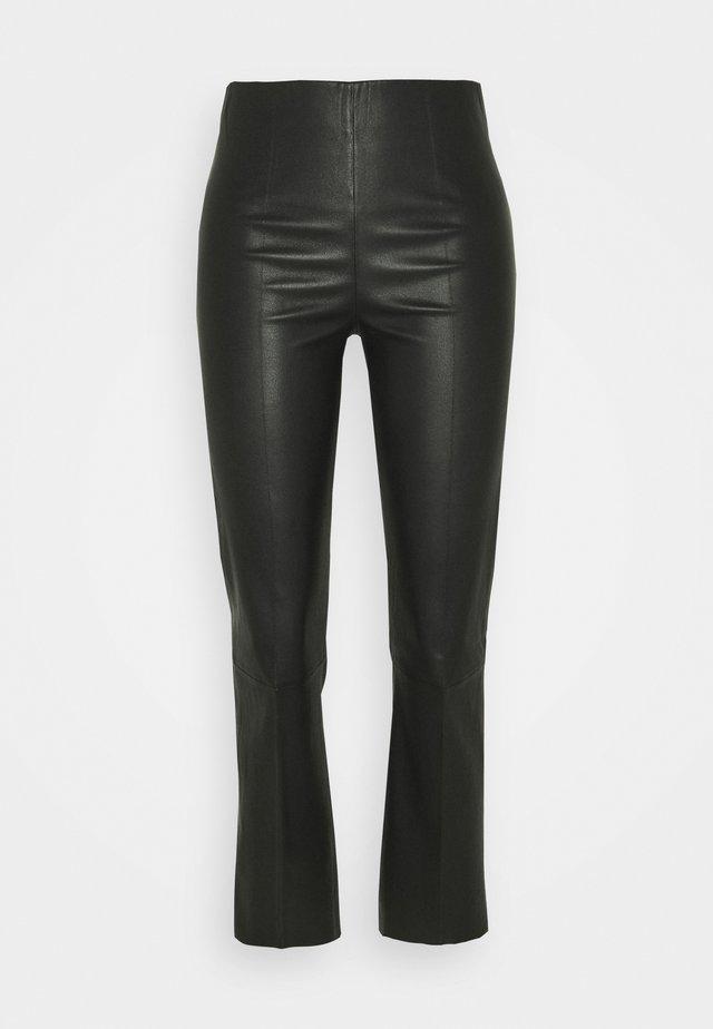 FLORENTINA - Spodnie skórzane - black