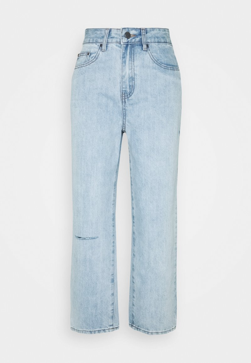 Lost Ink Petite - STRAIGHT PIPE LEG RIP - Straight leg jeans - mid denim