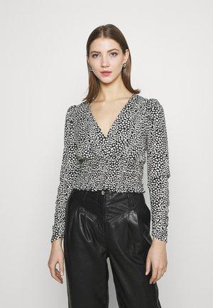WAISTPRINTED WRAP LONG - Blouse - black pattern