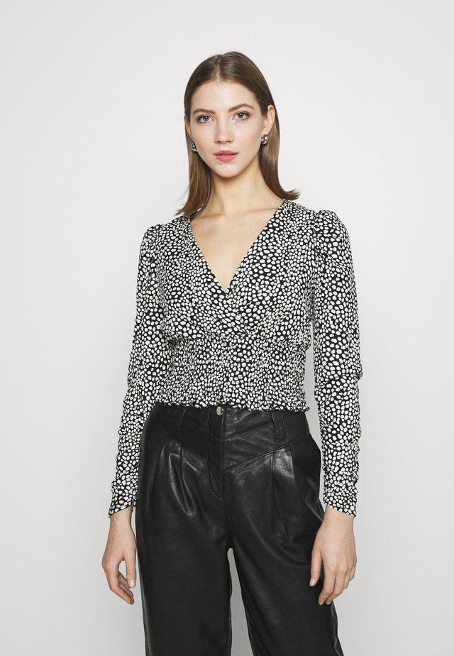 WAISTPRINTED WRAP LONG - Blouse - black pattern