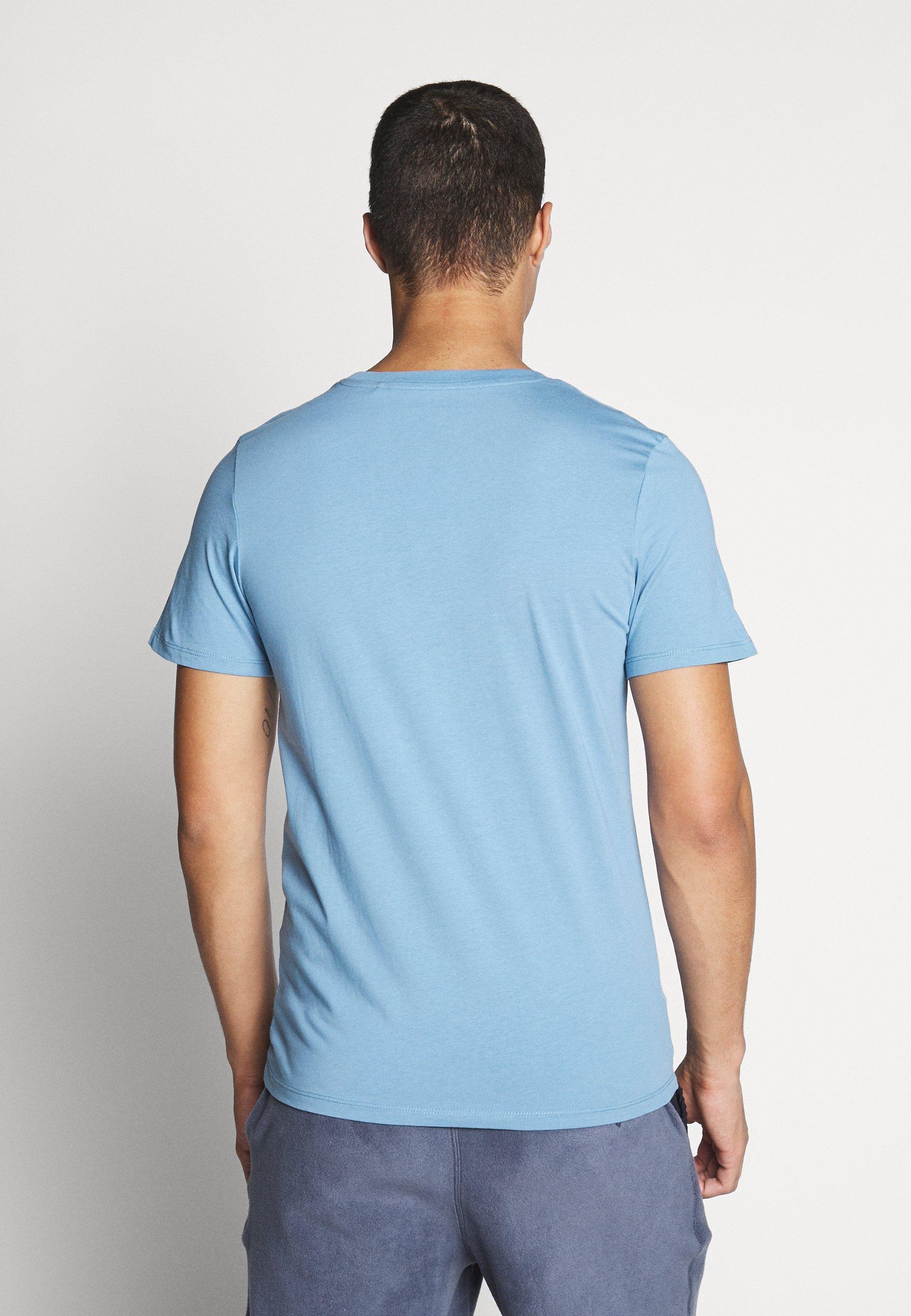 Jack & Jones JJELOGO TEE SLIM - Print T-shirt - blue heaven ptOqU