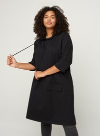 Zizzi - WITH 3/4 LENGTH SLEEVES AND A HOOD - Day dress - black - 0