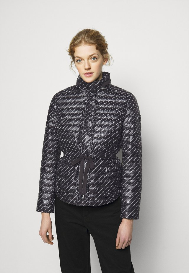 BELTED PUFFR - Down jacket - black/white