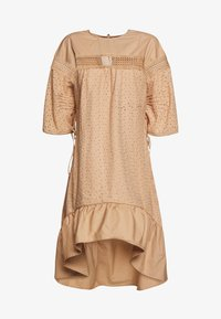 Lost Ink - TRIM INSERT BRODERIE MIDI DRESS - Robe chemise - beige - 0
