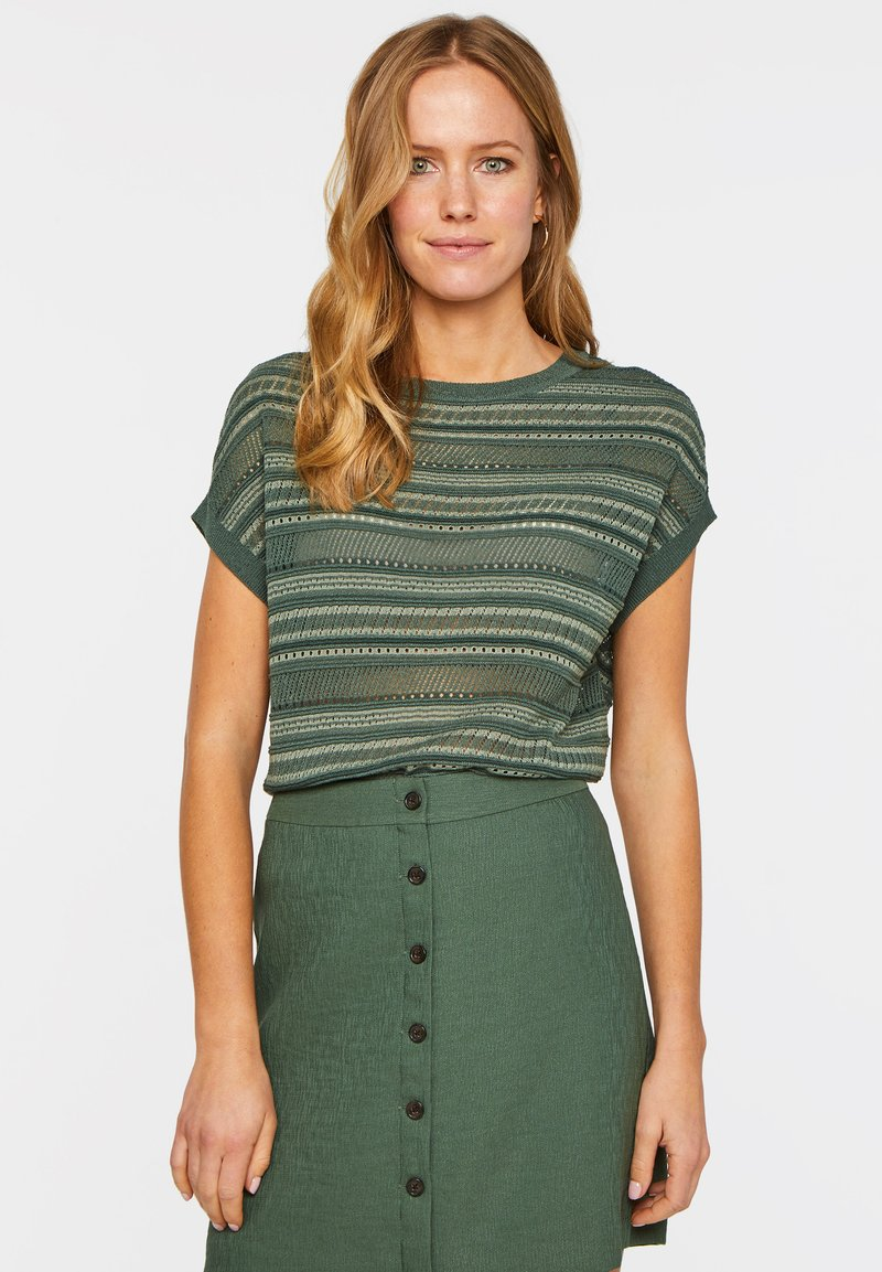 WE Fashion - WE FASHION DAMEN-FEINSTRICKPULLOVER - Print T-shirt - green